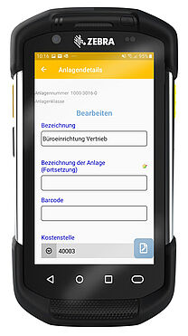 Anlagendetails-Screenshot in der MembrainPAS-AM App im Zebra Scanner