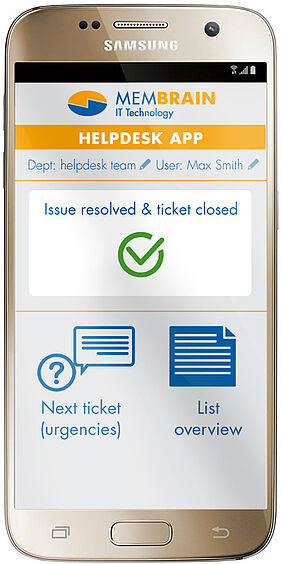 Ticket closed-Screenshot der Membrain Helpdesk App im Android Phone