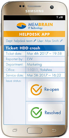 Ticket-Screenshot der Membrain Helpdesk App im Android Phone